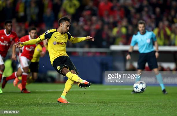Pierre Emerick Aubameyang of Dortmund fails to score the equalizing goal by penalty kick during the UEFA Champions League Round of 16 first leg match...