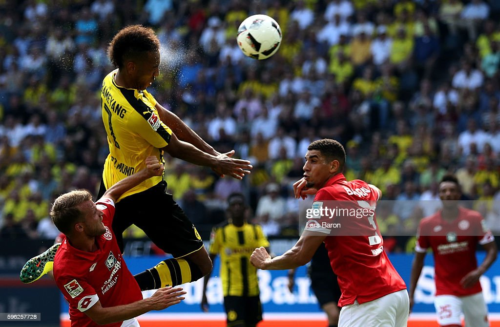 Pierre Emerick Aubameyang of Dortmund goes up for a header during the Bundesliga match between Borussia Dortmund and 1 FSV Mainz 05 at Signal Iduna...