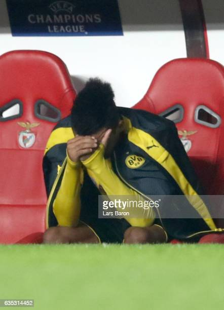 Pierre Emerick Aubameyang of Dortmund looks dejected after he fails to score the equalizing goal by penalty kick during the UEFA Champions League...