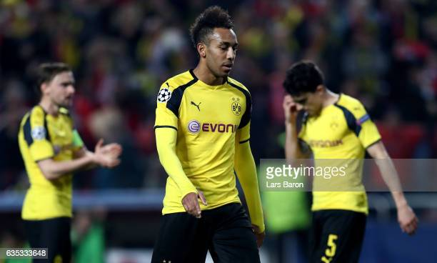 Pierre Emerick Aubameyang of Dortmund looks dejected during the UEFA Champions League Round of 16 first leg match between SL Benfica and Borussia...