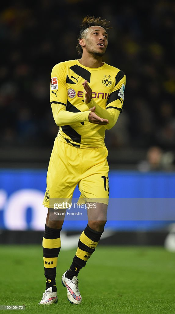 Pierre Emerick Aubameyang of Dortmund reacts to a missed chance during the Bundesliga match between Hertha BSC and Borussia Dortmund at Olympiastadion on December 13, 2014 in Berlin, Germany.