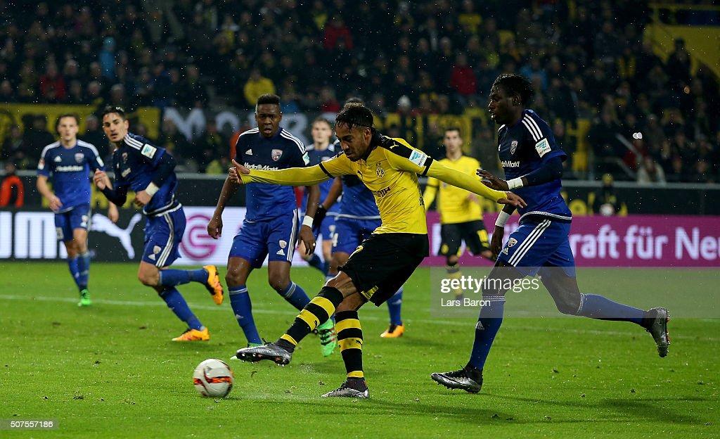Pierre Emerick Aubameyang of Dortmund scores his teams second goal during the Bundesliga match between Borussia Dortmund and FC Ingolstadt at Signal...