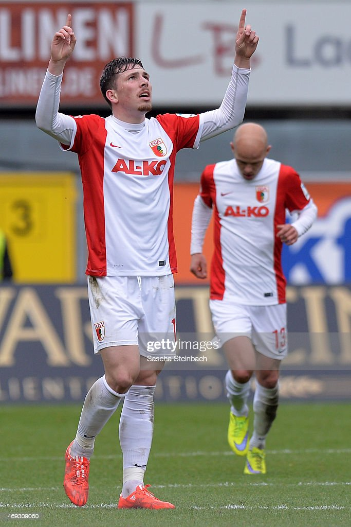 Pierre Emil Hojbjerg of Augsburg celebrates after scoring his team's first goal during the Bundesliga match between SC Paderborn 07 and FC Augsburg at Benteler Arena on April 11, 2015 in Paderborn, Germany.
