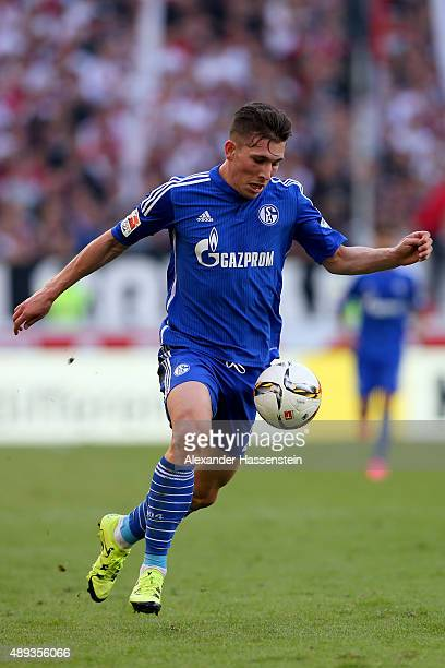 Pierre Emile Hoejbjerg of Schalke runs with the ball during the Bundesliga match between VfB Stuttgart and FC Schalke 04 at MercedesBenz Arena on...