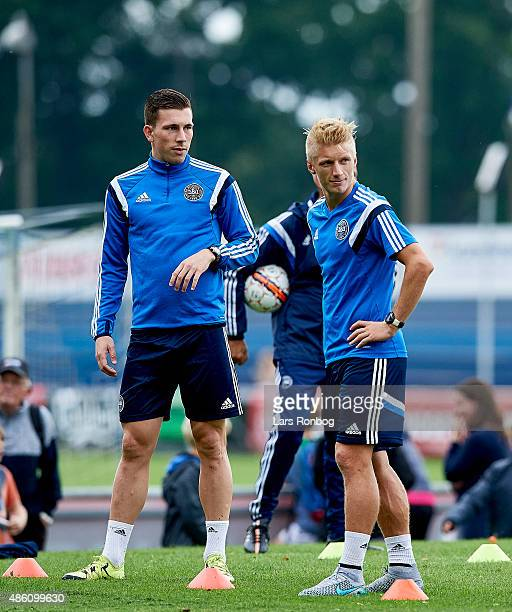 Pierre Emile Hojbjerg and Daniel Wass looks on during the Denmark training session at Helsingor Stadion on August 31 2015 in Helsingor Denmark