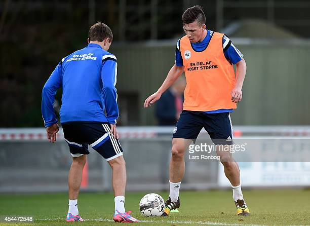 Pierre Emile Hojbjerg controls the ball during during the Denmark training session ahead of the International friendly match between Denmark and...