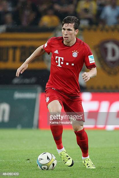 Pierre Emile Hojbjerg of Bayern Muenchen during the friendly match between SG Dynamo Dresden and FC Bayern Muenchen at GluecksgasStadion on August 17...