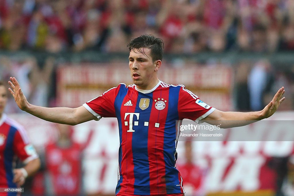 Pierre Emile Hojbjerg of FC Bayern Muenchen reacts during the Bundesliga match between FC Bayern Muenchen and SV Werder Bremen at Allianz Arena on October 18, 2014 in Munich, Germany.