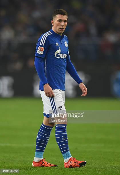 Pierre Emile Hojbjerg runs with the ball during the Bundesliga match between FC Schalke 04 and Hertha BSC Berlin at VeltinsArena on October 17 2015...