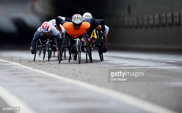 Pierre Fairbank of France leads the Men's Wheelchair race during the Virgin Money London Marathon on April 24 2016 in London England