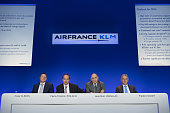 Pierre Francois Riolacci chief financial officer of Air FranceKLM Group second left speaks as Pieter Elbers chief executive officer of KLM division...