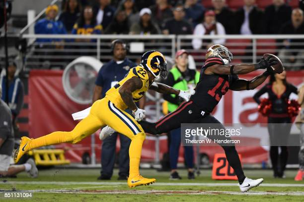 Pierre Garcon of the San Francisco 49ers makes a catch against the Los Angeles Rams during their NFL game at Levi's Stadium on September 21 2017 in...