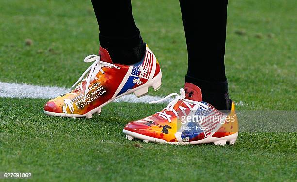 Pierre Garcon of the Washington Redskins wears custom cleats as part of the NFL's Cleats for a Cause week before a game against the Arizona Cardinals...