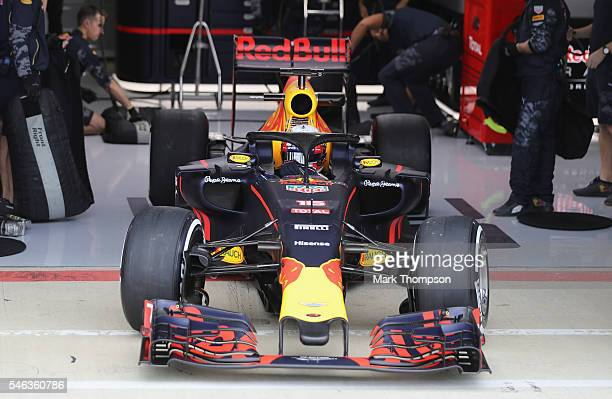 Pierre Gasly of France and Red Bull Racing drives the Red BullTAG Heuer RB12 fitted with the halo safety device during F1 testing at Silverstone...
