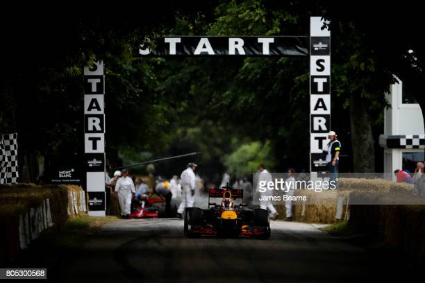 Pierre Gasly of France and Red Bull Racing performs a run up the hill during the Goodwood Festival of Speed at Goodwood on July 1 2017 in Chichester...