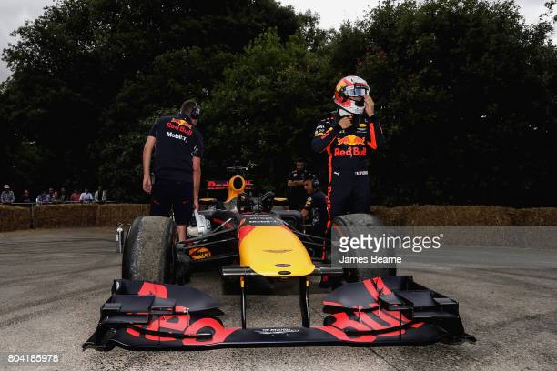 Pierre Gasly of France and Red Bull Racing prepares for a run up the hill during the Goodwood Festival of Speed at Goodwood on June 30 2017 in...