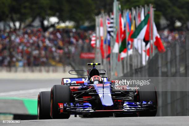 Pierre Gasly of France and Scuderia Toro Rosso drives in the Scuderia Toro Rosso STR12 in the Pitlane during qualifying for the Formula One Grand...