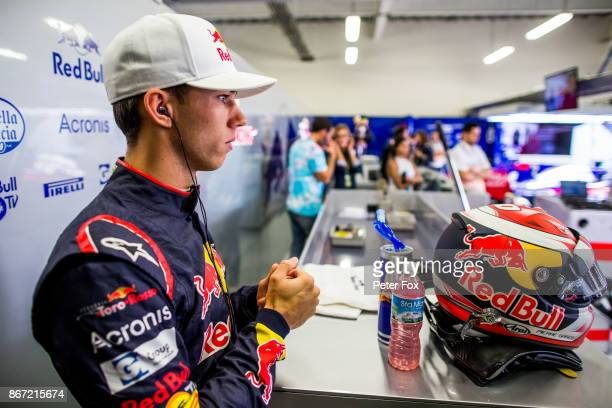 Pierre Gasly of Scuderia Toro Rosso and France during practice for the Formula One Grand Prix of Mexico at Autodromo Hermanos Rodriguez on October 27...