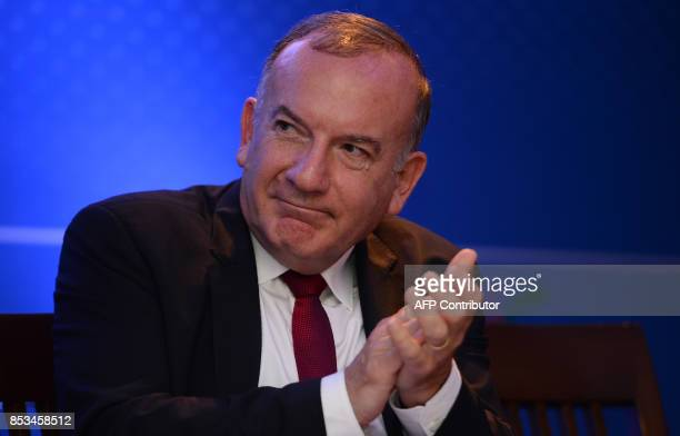 Pierre Gattaz head of the French employers union MEDEF attends a meeting in New Delhi on September 25 2017 The meeting was organised by the...