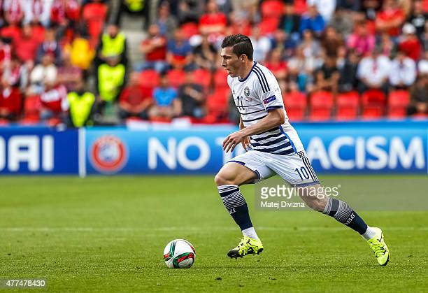 Pierre Hojbjerg of Denmark in action during UEFA U21 European Championship Group A match between Czech Republic and Denmark at Eden Stadium on June...