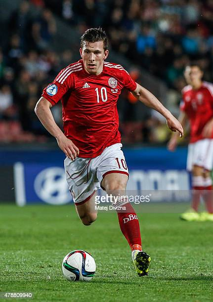 Pierre Hojbjerg of Denmark in action during UEFA U21 European Championship semi final match between Denmark and Sweden at Generali Arena on June 27...