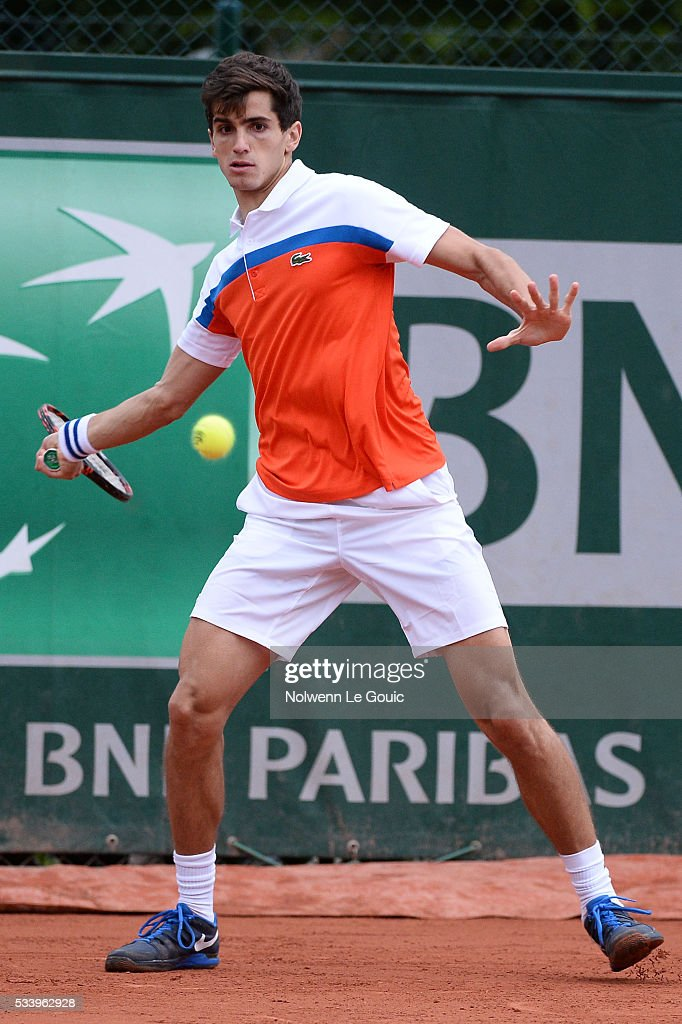 Pierre Hughes Herbert during the Men's Singles first round on day three of the French Open 2016 at Roland Garros on May 24, 2016 in Paris, France.