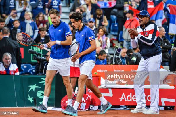 Pierre Hugues Herbert and Nicolas Mahut of France and Yannick Noah coach of France during the day 2 of the Semifinals of the Davis Cup between France...