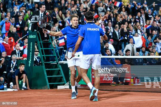 Pierre Hugues Herbert and Nicolas Mahut of France celebrates the victory during the day 2 of the Semifinals of the Davis Cup between France and...