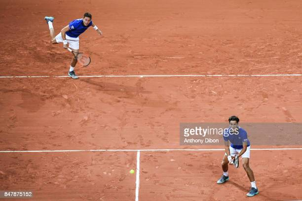 Pierre Hugues Herbert and Nicolas Mahut of France during the day 2 of the Semifinals of the Davis Cup between France and Serbia at Stade Pierre...