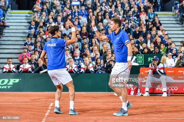 Pierre Hugues Herbert of France and Nicolas Mahut during the day 2 of the Semifinals of the Davis Cup between France and Serbia at Stade Pierre...