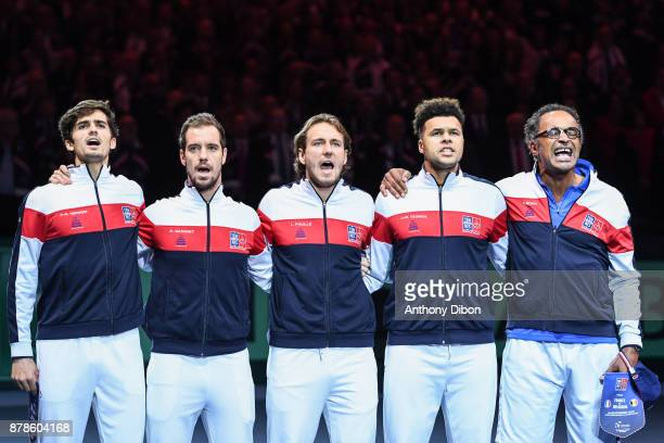 Pierre Hugues Herbert Richard Gasquet Lucas Pouille Jo Wilfried Tsonga and Yannick Noah coach of France singing national anthem during the day 1 of...