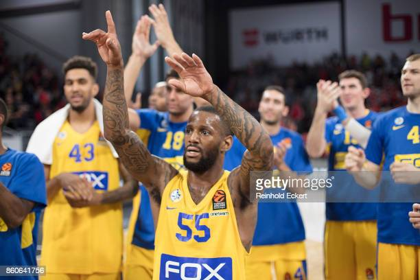 Pierre Jackson #55 of Maccabi Fox Tel Aviv at the end of the 2017/2018 Turkish Airlines EuroLeague Regular Season Round 1 game between Brose Bamberg...