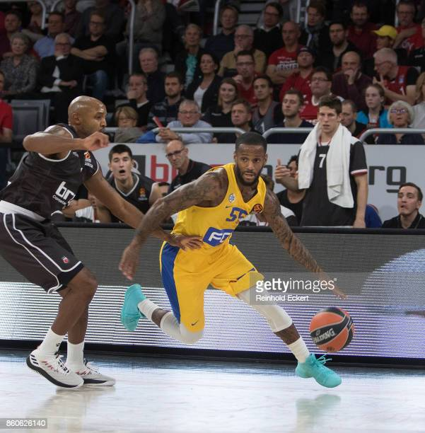 Pierre Jackson #55 of Maccabi Fox Tel Aviv competes with Ricky Hickman #2 of Brose Bamberg during the 2017/2018 Turkish Airlines EuroLeague Regular...