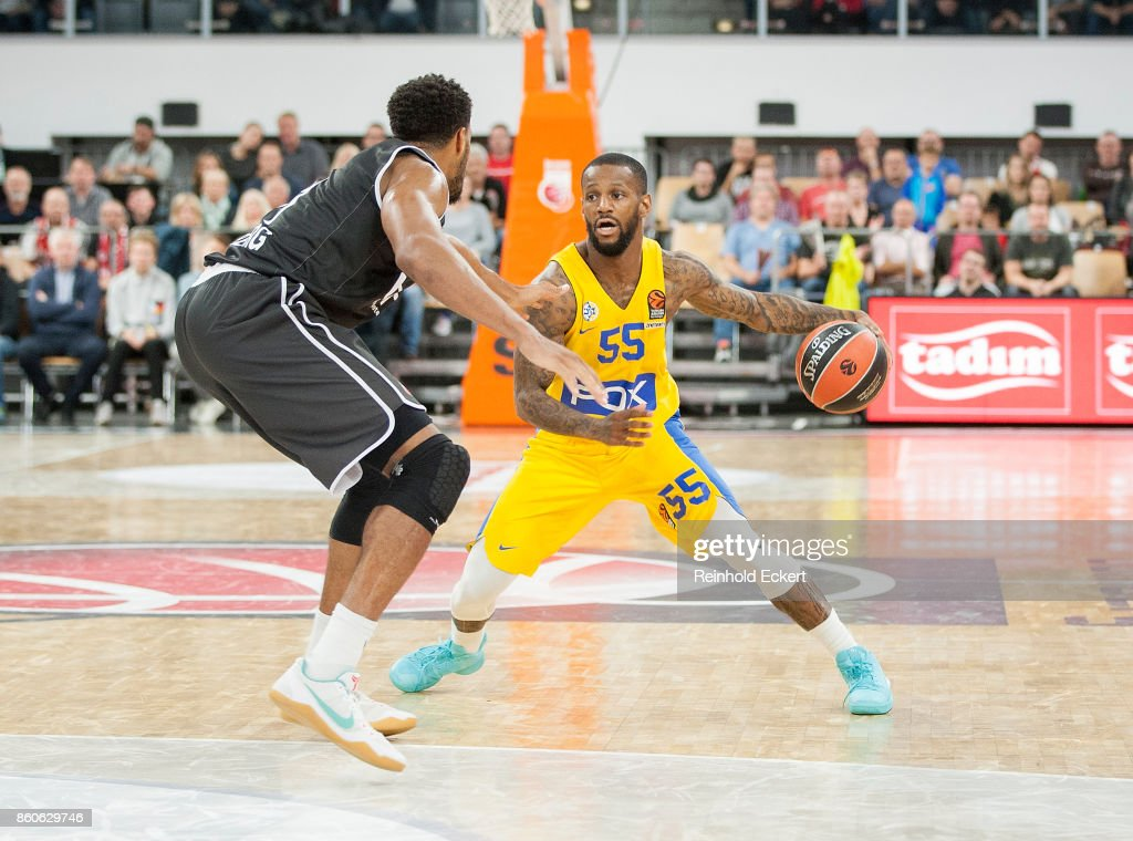 Pierre Jackson, #55 of Maccabi Fox Tel Aviv in action during the 2017/2018 Turkish Airlines EuroLeague Regular Season Round 1 game between Brose Bamberg v Maccabi Fox Tel Aviv at Brose Arena on October 12, 2017 in Bamberg, Germany.