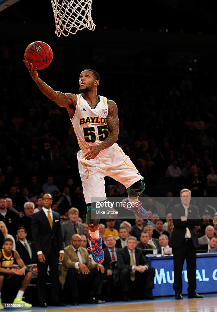 Pierre Jackson #55 of the Baylor Bears drives to the net for a basket against the Iowa Hawkeyes during the 2013 NIT Championship at Madison Square Garden on April 4, 2013 in New York City. Baylor defeated Iowa 74-54.
