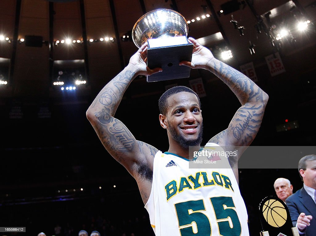 Pierre Jackson #55 of the Baylor Bears is named the MVP after defeating the Iowa Hawkeyes during the 2013 NIT Championship at Madison Square Garden on April 4, 2013 in New York City. Baylor defeated Iowa 74-54.