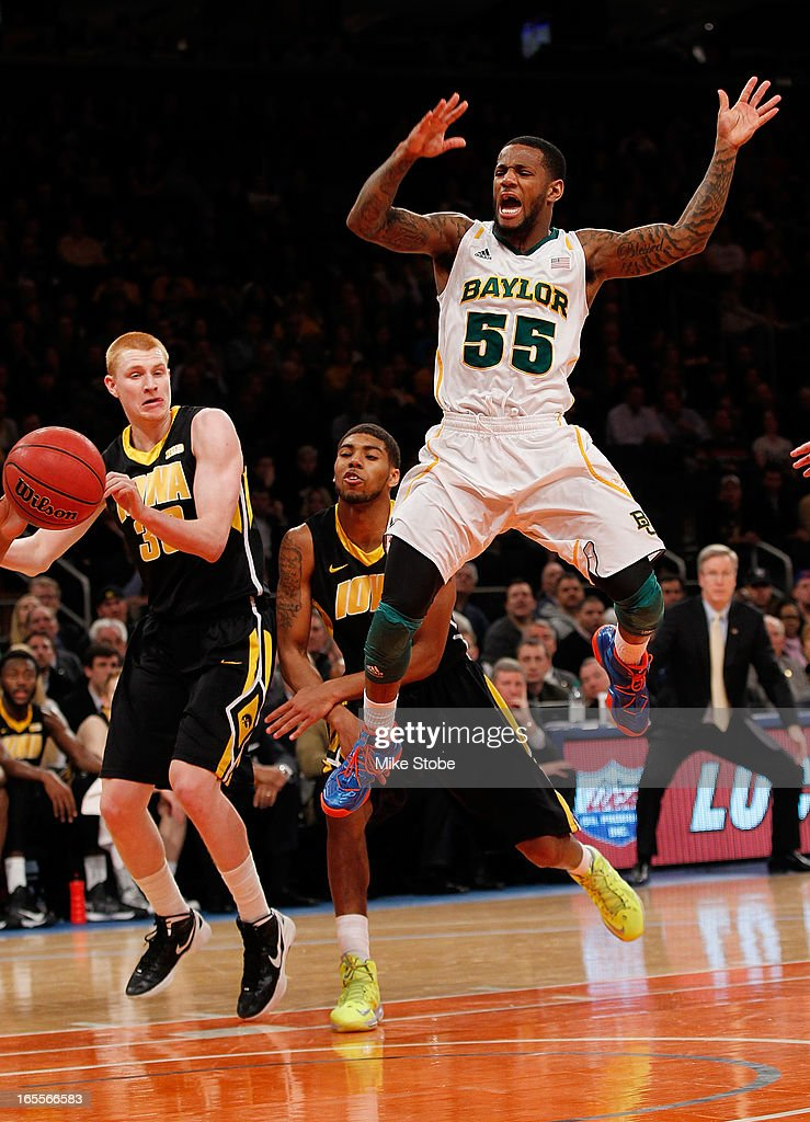 Pierre Jackson #55 of the Baylor Bears loses control of the ball against the Iowa Hawkeyes during the 2013 NIT Championship at Madison Square Garden on April 4, 2013 in New York City. Baylor defeated Iowa 74-54.