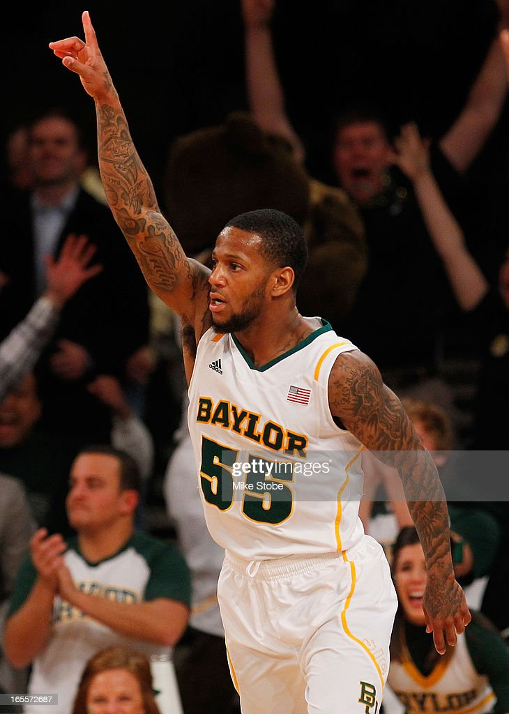 Pierre Jackson #55 of the Baylor Bears reacts after hitting a three pointer against the Iowa Hawkeyes during the 2013 NIT Championship at Madison Square Garden on April 4, 2013 in New York City. Baylor defeated Iowa 74-54.