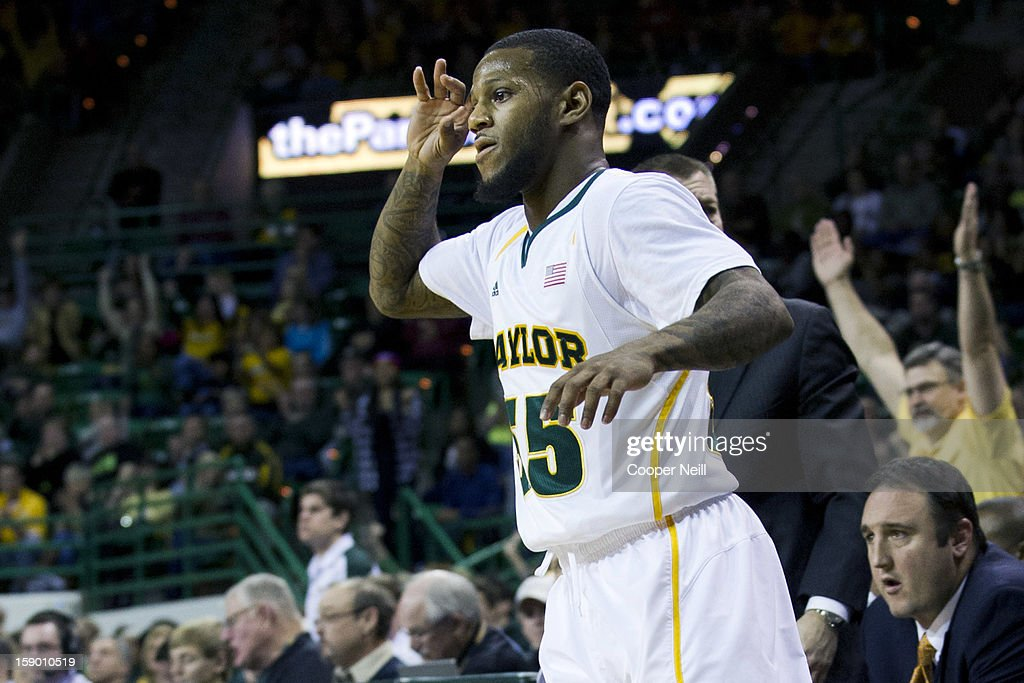 Pierre Jackson #55 of the Baylor University Bears celebrates after a made 3-pointer against the University of Texas Longhorns on January 5, 2013 at the Ferrell Center in Waco, Texas.