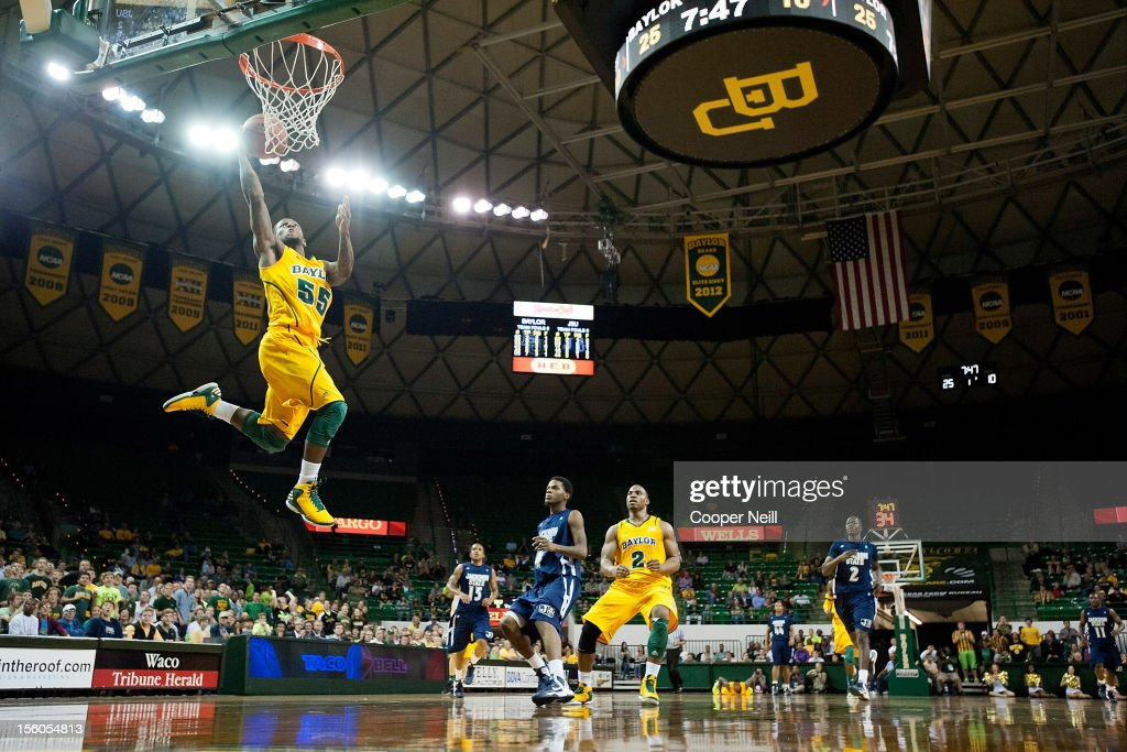 Pierre Jackson of the Baylor University Bears dunks the ball against the Jackson State University Tigers on November 11 2012 at the Ferrell Center in...