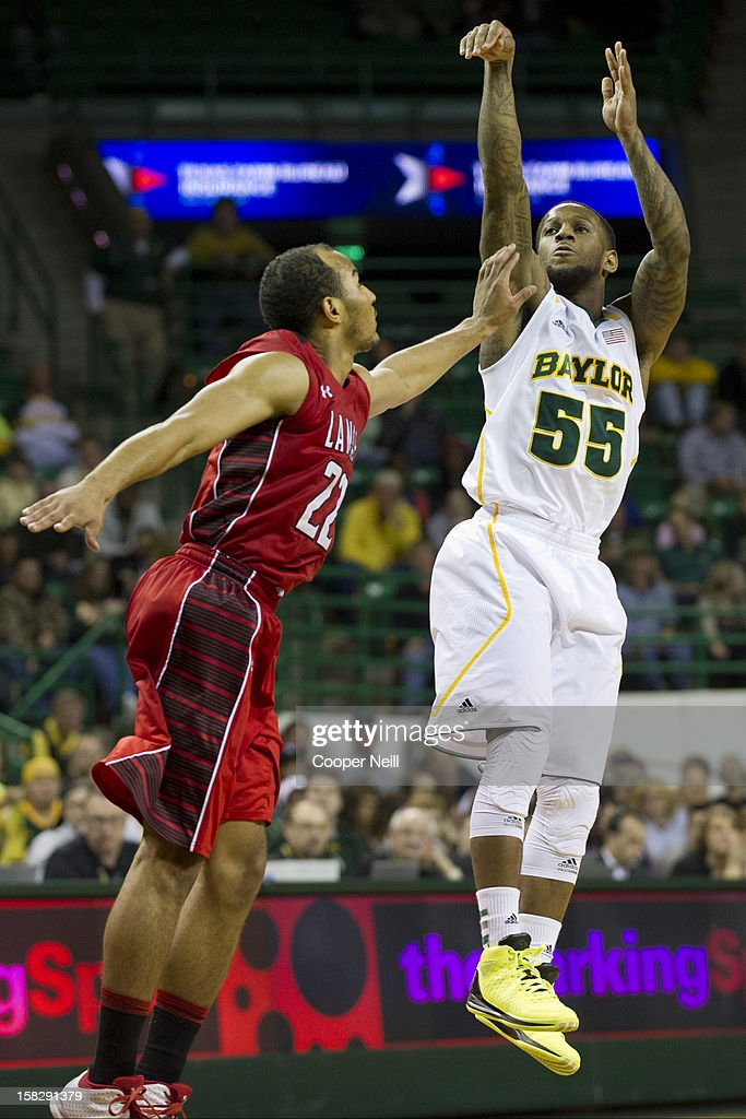 Pierre Jackson #55 of the Baylor University Bears makes a three-pointer against the Lamar Cardinals on December 12, 2012 at the Ferrell Center in Waco, Texas.