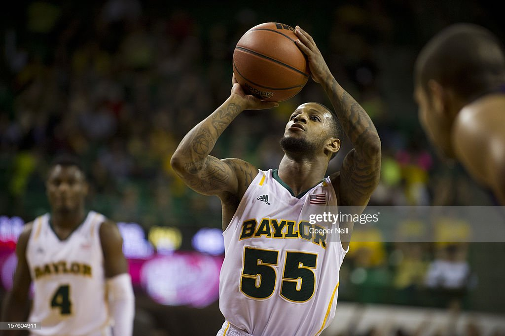 Pierre Jackson #55 of the Baylor University Bears shoots a free-throw against the Northwestern University Wildcats on December 4, 2012 at the Ferrell Center in Waco, Texas.