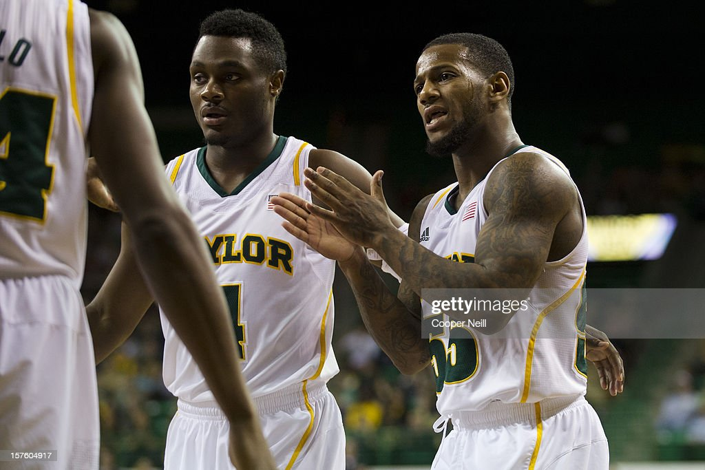 Pierre Jackson #55 of the Baylor University Bears tries to energize his team against the Northwestern University Wildcats on December 4, 2012 at the Ferrell Center in Waco, Texas.
