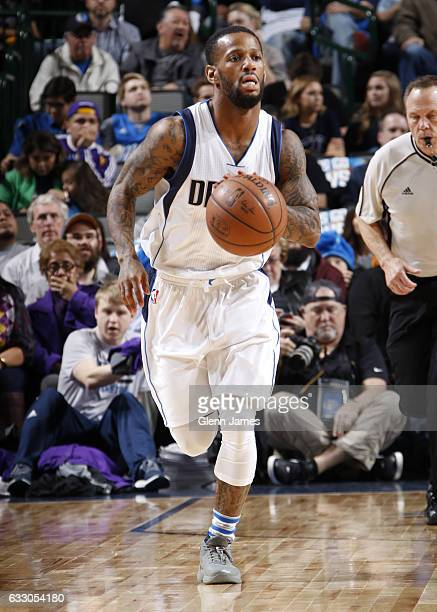 Pierre Jackson of the Dallas Mavericks brings the ball up court against the Los Angeles Lakers on January 22 2017 at the American Airlines Center in...