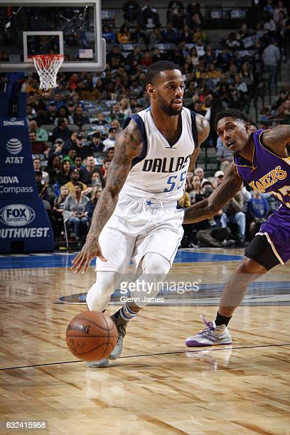 Pierre Jackson of the Dallas Mavericks drives against the Los Angeles Lakers on January 22 2017 at the American Airlines Center in Dallas Texas NOTE...