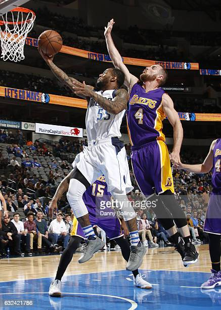Pierre Jackson of the Dallas Mavericks goes in for the lay up against the Los Angeles Lakers on January 22 2017 at the American Airlines Center in...