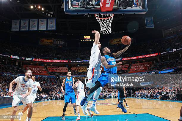 Pierre Jackson of the Dallas Mavericks goes up for a lay up against the Oklahoma City Thunder on January 26 2017 at Chesapeake Energy Arena in...
