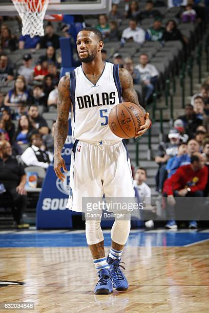Pierre Jackson of the Dallas Mavericks handles the ball against the Minnesota Timberwolves on January 15 2017 at the American Airlines Center in...