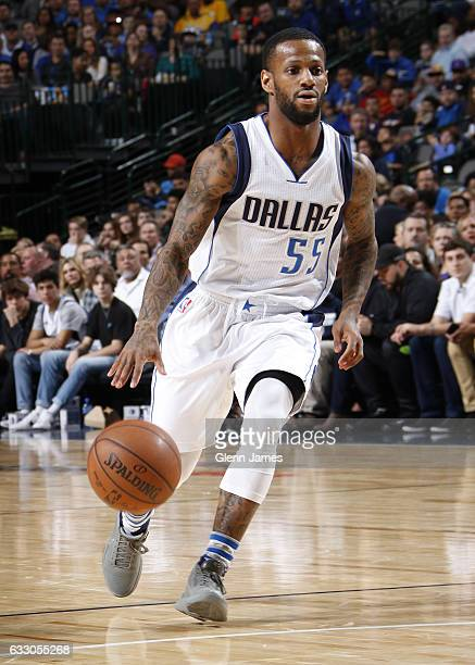 Pierre Jackson of the Dallas Mavericks handles the ball against the Los Angeles Lakers on January 22 2017 at the American Airlines Center in Dallas...