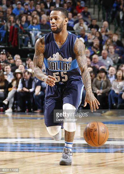 Pierre Jackson of the Dallas Mavericks handles the ball against the New York Knicks on January 25 2017 at the American Airlines Center in Dallas...